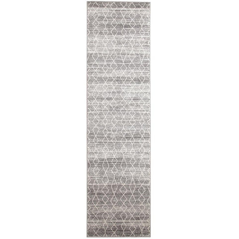 Amirtha Transitional Grey Patterned Designer Runner Rug - Rugs Of Beauty - 1