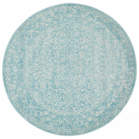 Arcadia Blue Beige Patterned Transitional Round Designer Rug - Rugs Of Beauty - 1