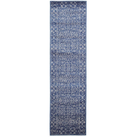 Elysian Navy Blue Pattern With Borders Transitional Designer Runner Rug - Rugs Of Beauty - 1