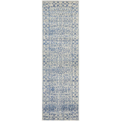 Meropis Beige Blue Transitional Designer Runner Rug - Rugs Of Beauty - 1