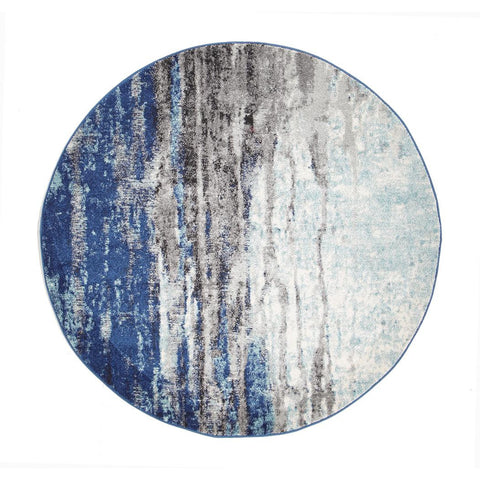 Mendril Transitional Blue Grey White Designer Round Rug - Rugs Of Beauty - 1