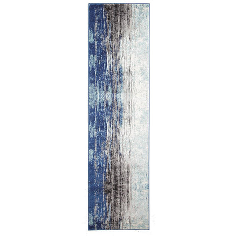 Mendril Transitional Blue Grey White Designer Runner Rug - Rugs Of Beauty - 1