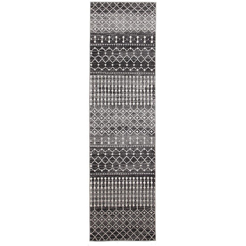 Cordova Black Grey Beige Patterned Transitional Designer Runner Rug - Rugs Of Beauty - 1