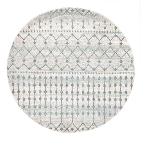 Exeter Blue Grey Beige Patterned Transitional Designer Round Rug - Rugs Of Beauty - 1