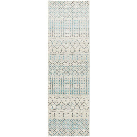 Exeter Blue Grey Beige Patterned Transitional Designer Runner Rug - Rugs Of Beauty - 1