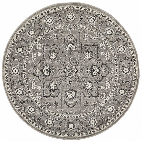 Klana Grey Patterned Transitional Designer Round Rug - Rugs Of Beauty - 1