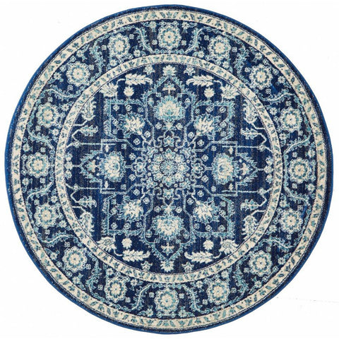 Lagos Transitional Blue Beige Designer Round Rug - Rugs Of Beauty - 1