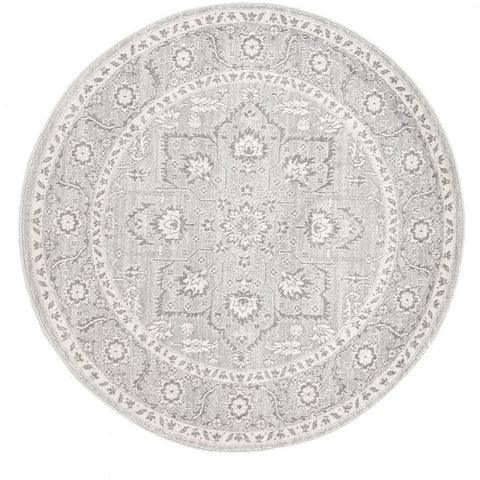 Lemuria Silver Grey Transitional Designer Round Rug - Rugs Of Beauty - 1