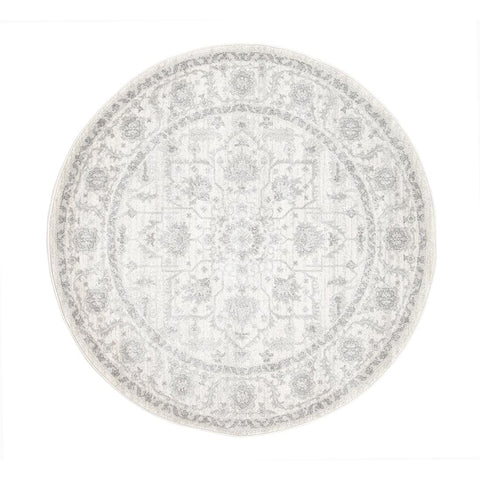 Reynes Transitional Beige Light Grey Round Designer Rug - Rugs Of Beauty - 1