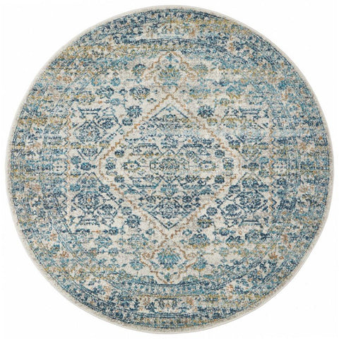 Horus Silver Grey Blue Rust Transitional Patterned Designer Round Rug - Rugs Of Beauty - 1
