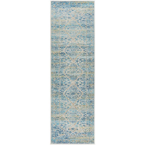 Horus Silver Grey Blue Rust Transitional Patterned Designer Runner Rug - Rugs Of Beauty - 1