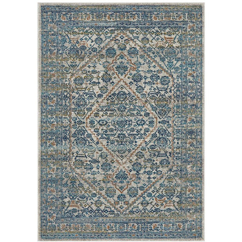 Horus Silver Grey Blue Rust Transitional Patterned Designer Rug