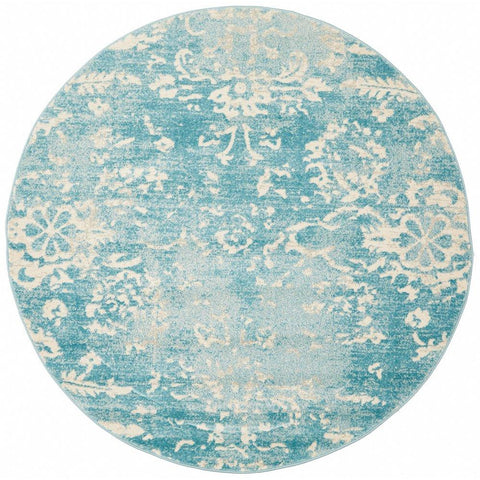 Utopia Blue Beige Faded Transitional Patterned Designer Round Rug - Rugs Of Beauty - 1