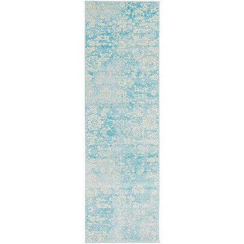 Utopia Blue Beige Faded Transitional Patterned Designer Runner Rug - Rugs Of Beauty - 1