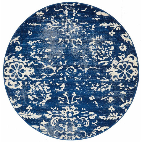 Anuket Navy Transitional Patterned Designer Round Rug - Rugs Of Beauty - 1