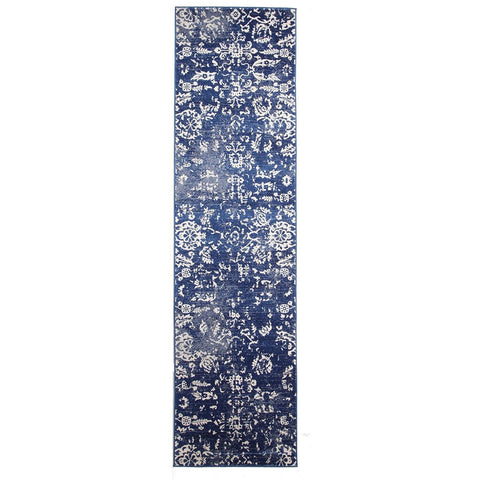 Anuket Navy Transitional Patterned Designer Runner Rug - Rugs Of Beauty - 1