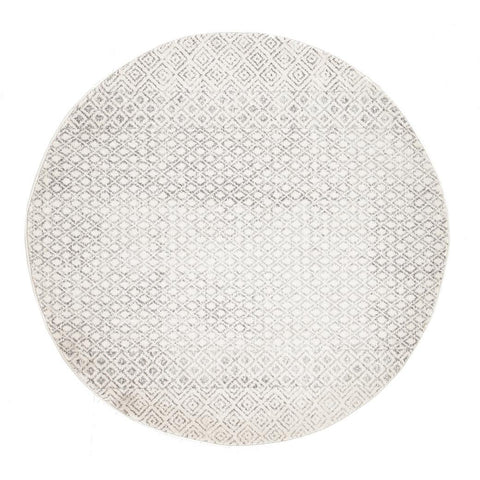 Dacca Transitional Grey Beige Designer Round Rug - Rugs Of Beauty - 1