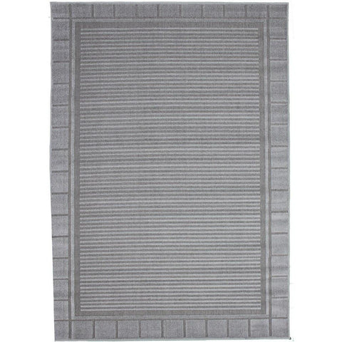 Cairo Indoor / Outdoor Light Grey Border and Stripe Modern Rug - Rugs Of Beauty - 1