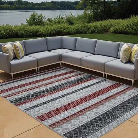 Cairo Indoor / Outdoor Cream & Beige Patterned Stripe Modern Rug - Rugs Of Beauty