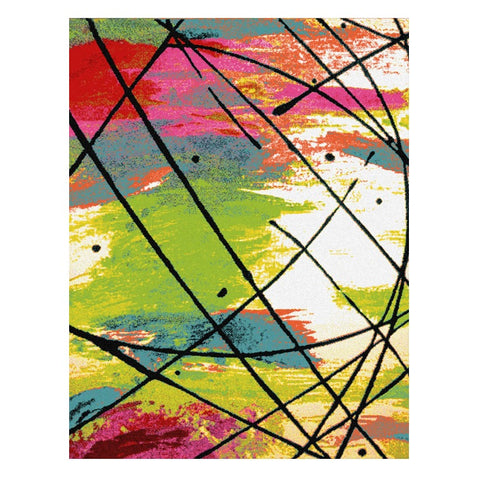 Ensenada 4979 Multi Coloured Abstract Patterned Modern Rug - Rugs Of Beauty - 1