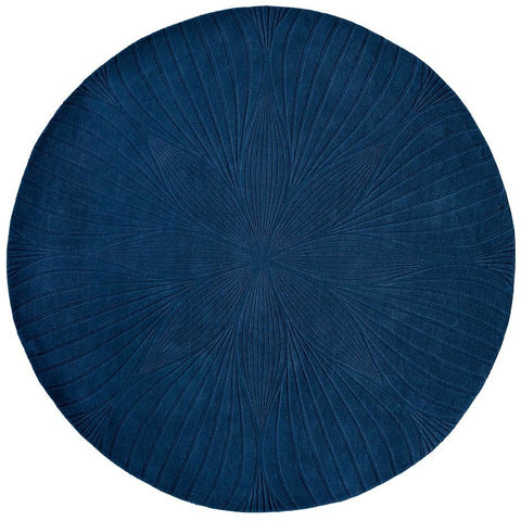 Wedgwood Folia Navy Blue 38308 Wool Designer Round Rug - Rugs Of Beauty - 1