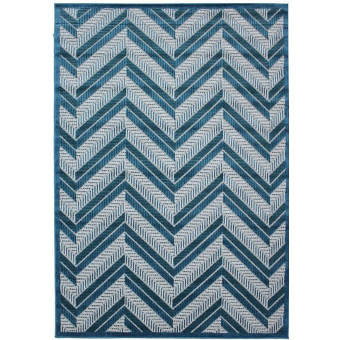 Cairo Indoor / Outdoor Chevron Blue & Turquoise Stripe Modern Rug - Rugs Of Beauty - 1