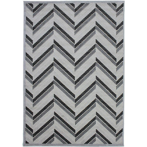 Cairo Indoor / Outdoor Chevron Light Grey & Black G088A Modern Rug - Rugs Of Beauty - 1