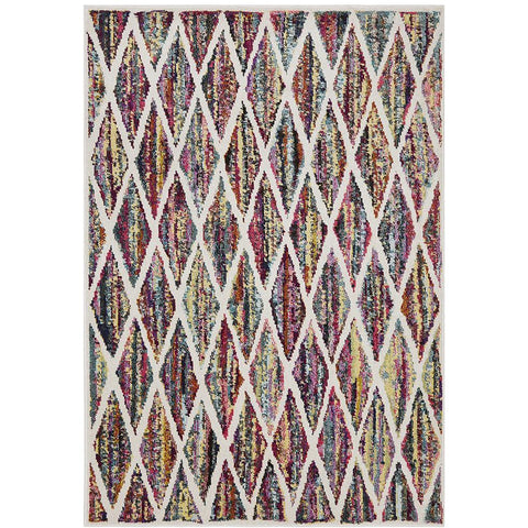 Mubi 3736 Multi Colour Trellis Patterned Modern Rug - Rugs Of Beauty - 1