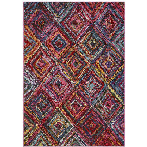 Mubi 3735 Multi Colour Diamond Patterned Modern Rug - Rugs Of Beauty - 1