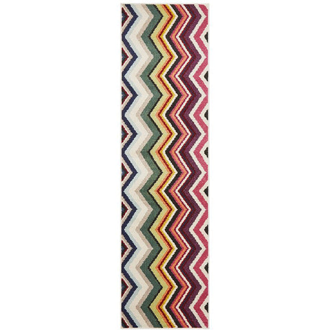 Mubi 3727 Multi Colour Zig Zag Pattern Modern Runner Rug - Rugs Of Beauty - 1