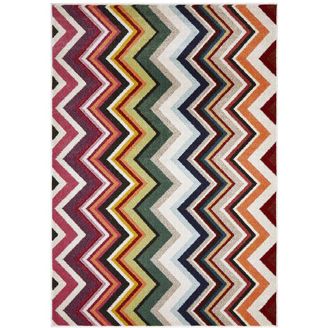 Mubi 3727 Multi Colour Zig Zag Pattern Modern Rug - Rugs Of Beauty - 1