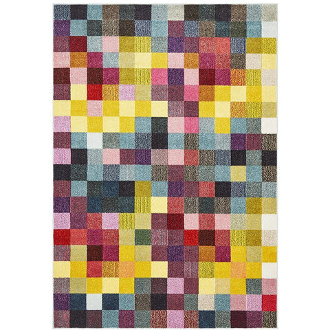 Mubi 3723 Bright Multi Colour Pixel Patterned Modern Rug - Rugs Of Beauty - 1