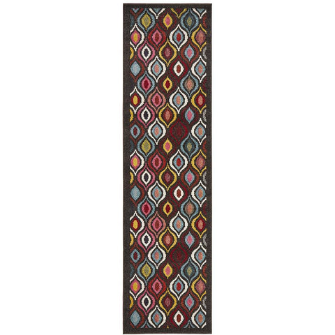Mubi 3734 Multi Colour Abstract Patterned Modern Runner Rug - Rugs Of Beauty - 1