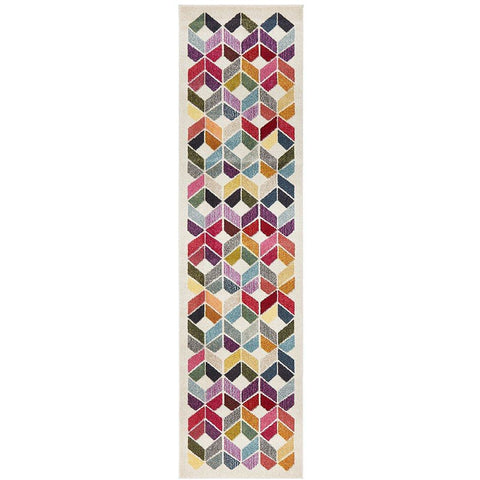 Mubi 3722 Multi Colour Patterned Modern Runner Rug - Rugs Of Beauty - 1