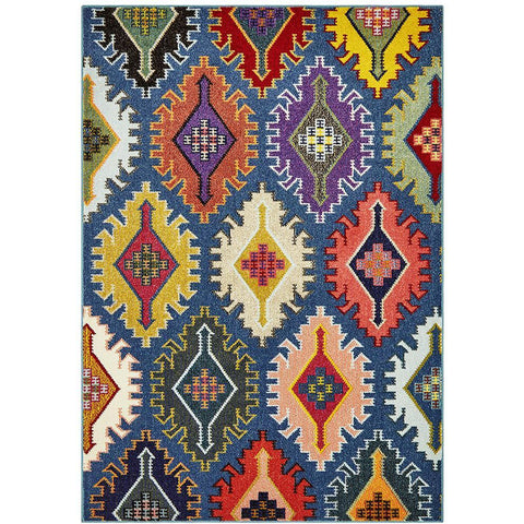 Mubi 3733 Navy Blue Multi Colour Abstract Patterned Modern Rug - Rugs Of Beauty - 1