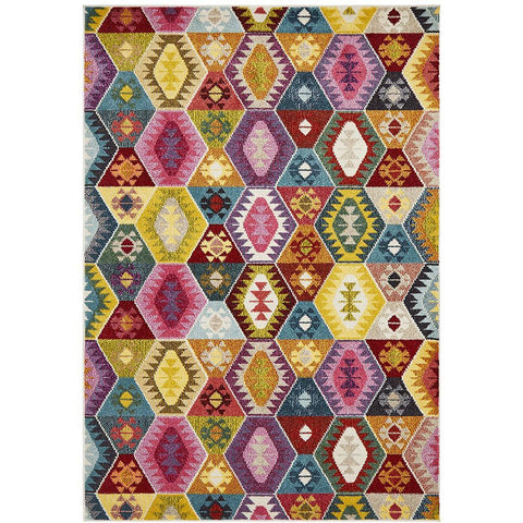 Mubi 3730 Multi Colour Abstract Patterned Modern Rug - Rugs Of Beauty - 1
