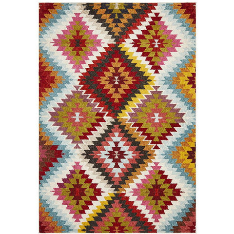 Mubi 3731 Diamond Patterned Multi Colour Abstract Modern Rug - Rugs Of Beauty - 1