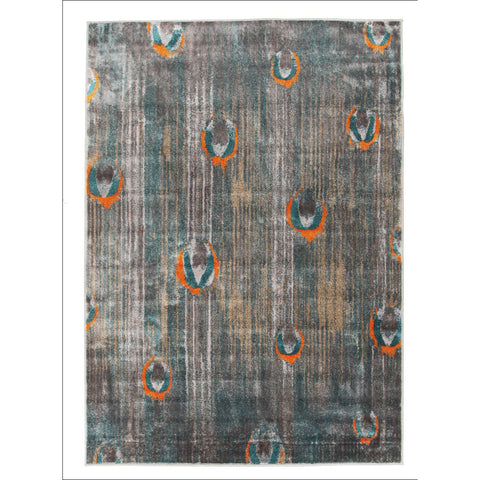 Peacock Feather Austin Rug Grey Blue Rust - Rugs Of Beauty - 1