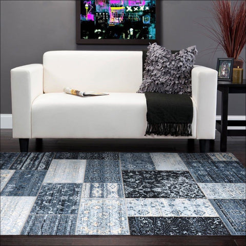 Neo Patchwork Designer Rug Blue - Rugs Of Beauty - 1