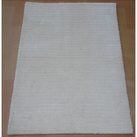 Hand Knotted Modern Viscose / Cotton Rug - Royal 863 Ivory White - Rugs Of Beauty
