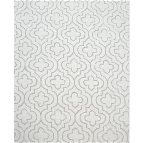 Handmade Modern Patterned Wool & Silk Royal Rug - Ivory Cream White - Rugs Of Beauty