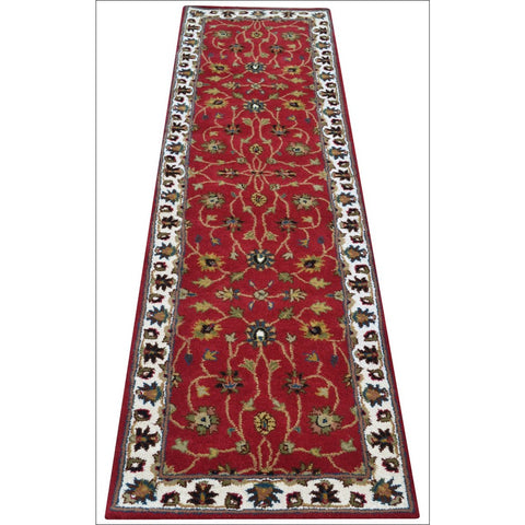 Handmade Woollen Runner Rug - 902 - Red/Cream - Rugs Of Beauty