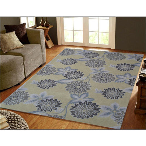 Floral 100% Wool Hand tufted Rug Botanical 956 Lt. Green - Rugs Of Beauty