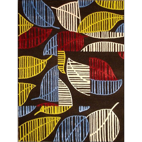 Contemporary Multi Coloured Leaves Patterned Wool Rug - Elite 1048 - Rugs Of Beauty