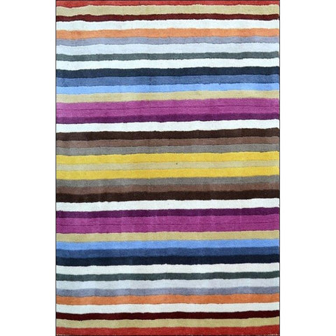 Handmade Multi Designer Striped Wool Rug - Elite 1054 - Rugs Of Beauty