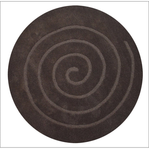 Handmade Brown Round Wool Rug - Swirl - Rugs Of Beauty
