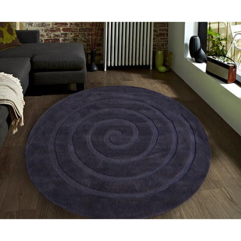 Charcoal Round Swirl Designer Wool Rug - Rugs Of Beauty