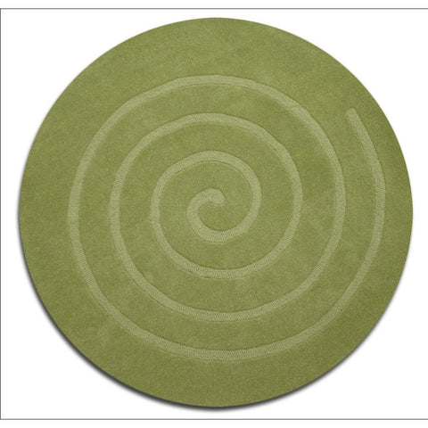 Handmade Contemporary Round Green Wool Rug - Swirl - Rugs Of Beauty