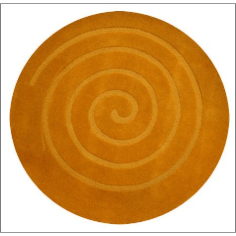 Handmade Modern Round Wool Rug - Swirl - Orange - Rugs Of Beauty