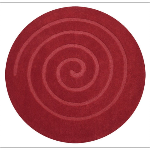Handmade Modern Round Red Wool Rug - Swirl - Rugs Of Beauty